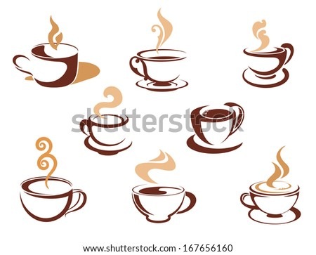 Cups with steaming fragrant coffee for cafe or restaurant logo design - stock vector