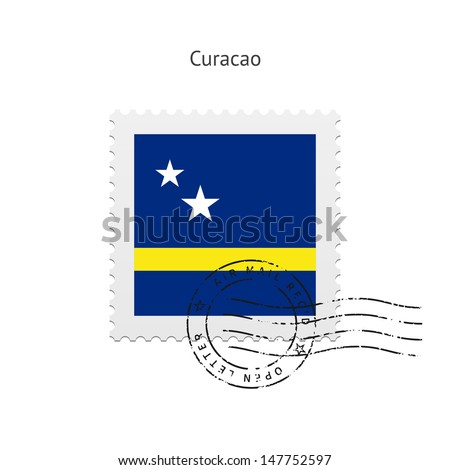 Curacao Flag Postage Stamp on white background. Vector illustration.