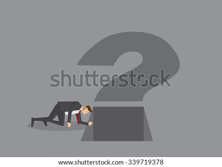 Curious businessman on all fours looking into a square hole at the bottom of question mark sign. Vector cartoon illustration on metaphor for being curious at work isolated on grey background. - stock vector
