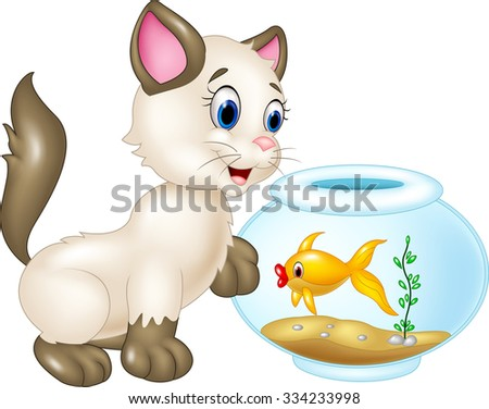 Curious cat with swimming fish isolated on white background  - stock vector