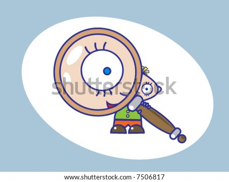 Curious kid and a magnifying glass - stock vector