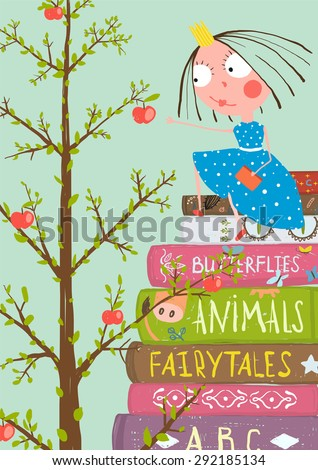 Curious Little Girl with Many Books and Apple Tree. Colorful a4 children greeting card illustration about education. - stock vector