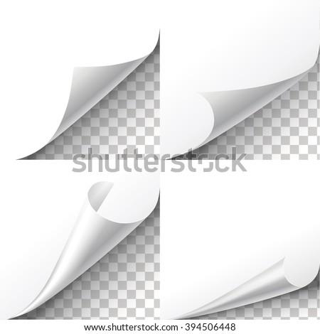 Curl paper corners vector set on transparent background. Sheet sticker,  flip edges illustration - stock vector