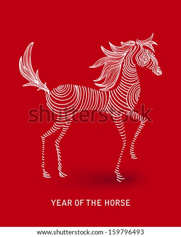 Curl sketch style drawing with red background: 2014 Chinese New Year of the Horse illustration. Vector file organized in layers for easy editing.