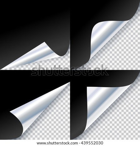 Curled corners of silver page - stock vector