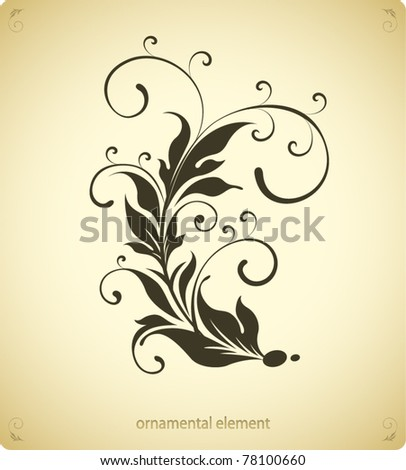 curled flourish element - stock vector