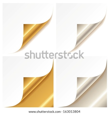 Curled golden and silver page corner set - stock vector