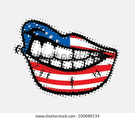 Curled lips with USA flag - vector illustration - stock vector