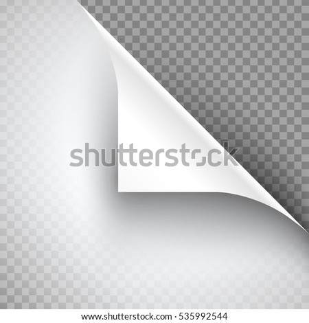 Curled Page Corner with Shadow on Transparent Background. Vector illustration of page curl