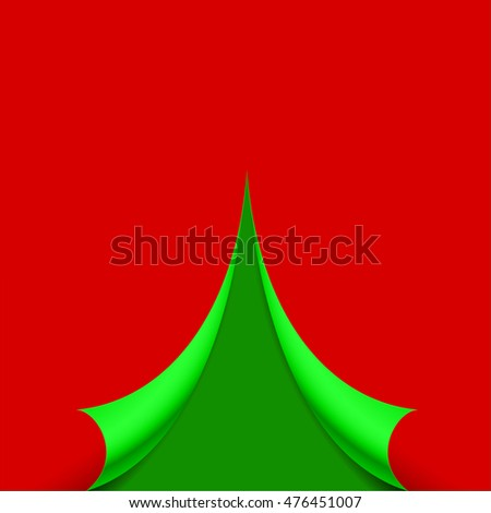 Curled page in the form of the Christmas tree vector illustration