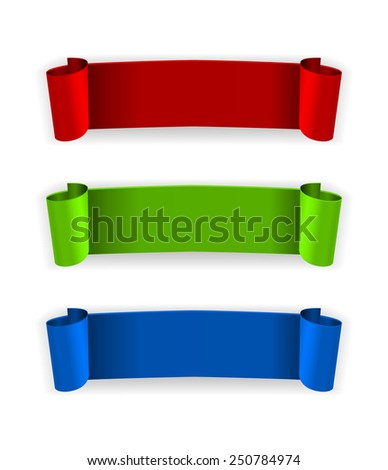 Curled paper banner - stock vector