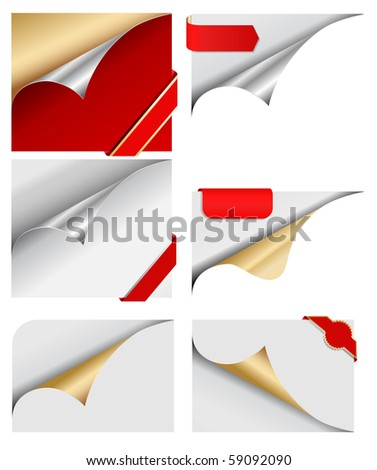 curled paper with red tags - stock vector