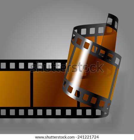 Curled photo film strip on gray background. Movies concept. Vector illustration - stock vector