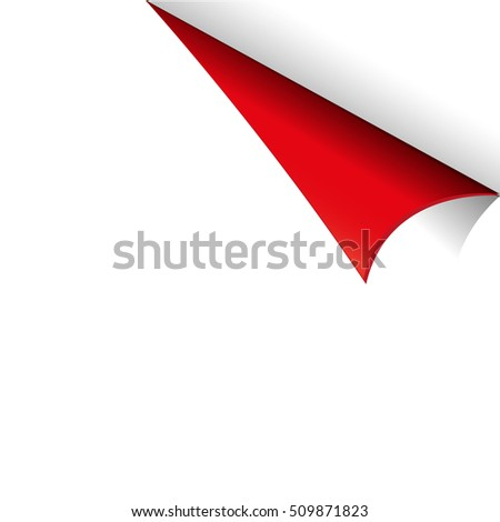 Curled Red Paper Corner with white Background
