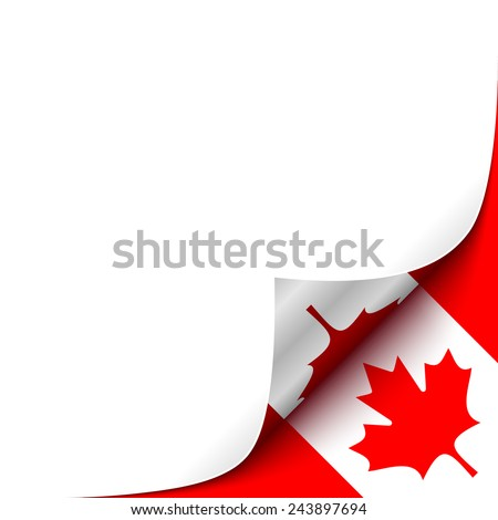 Curled up Paper Corner on Canadian Flag Background. Vector Background for your Design - stock vector