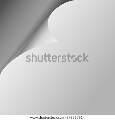 Curled White Paper Corner with Gray Background