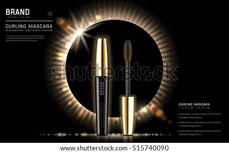 Curling mascara ads, 3d illustration mascara brush and its container isolated on eclipse background