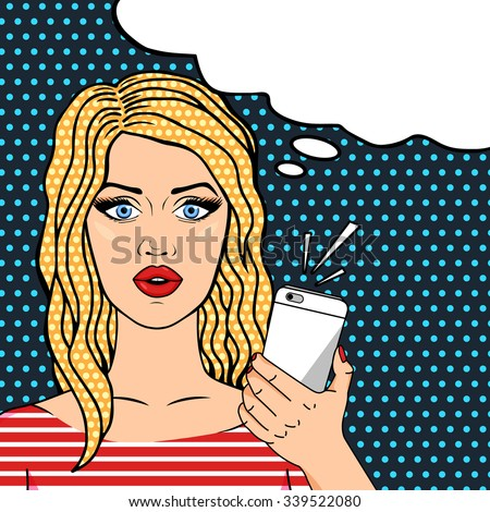 Curly blonde woman on phone pop art comic style, thinking bubble for your text - stock vector