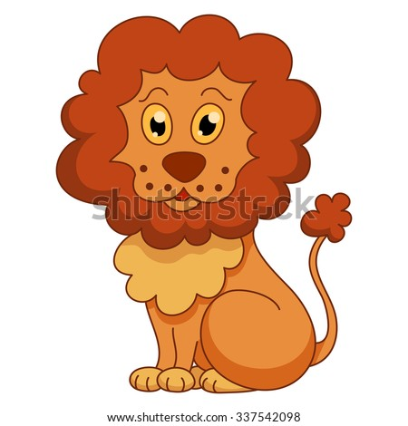 Curly cartoon lion with fluffy mane and kind muzzle. Vector illustration - stock vector