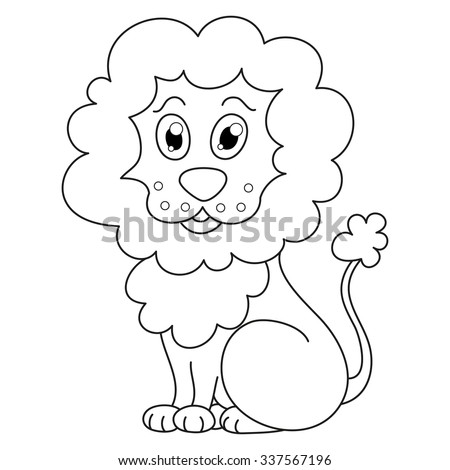 Curly Cartoon Lion With Fluffy Mane And Kind Muzzle Vector Illustration Coloring Book Page