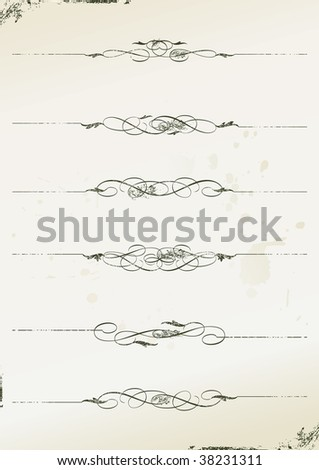 curly grunge page rules - vector illustration - stock vector