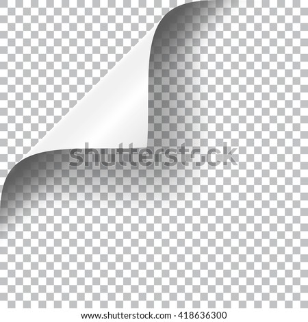 Curly Page Corner realistic illustration with transparent shadow. Ready to apply to your design. Graphic element for documents, templates, posters, flyers. - stock vector