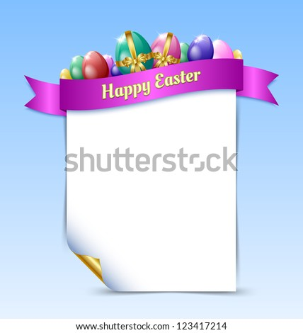 Curly paper Happy Easter document template with Easter eggs and ribbon isolated on background