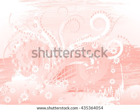 Curly pattern of flowers and petals on a pink background