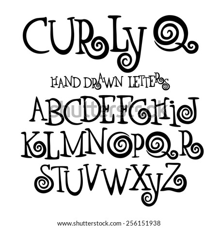 Curly Q hand drawn font alphabet symbol icon letters A through Z EPS 10  royalty free illustrationvector for advertising, marketing, icon design, headlines, cartoons, blogs, social media - stock vector
