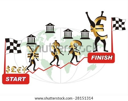 Currencies competing against each other in economic crisis times. - stock vector
