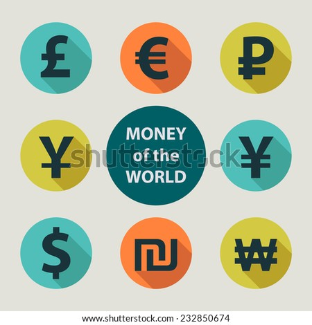 Currencies of different countries in the style of flat - stock vector