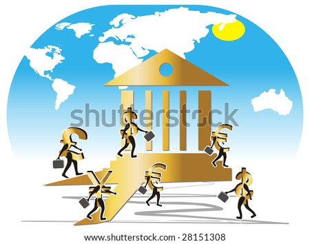 Currencies (pound, euro, dollar, yen) illustrated like bank employees. Currencies with portfolio walking to the bank to work. - stock vector