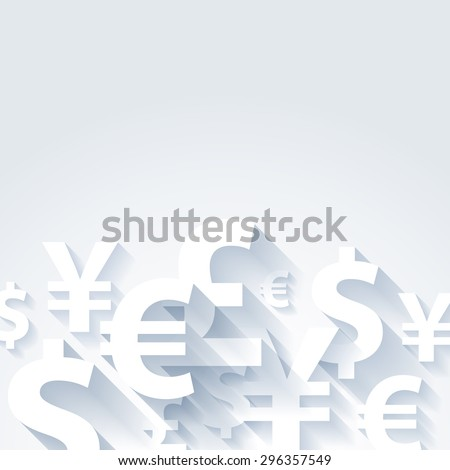 Currencies Symbols Paper White Abstract Background Stock Photo