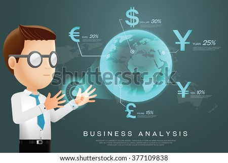 currency businessman analysis - stock vector