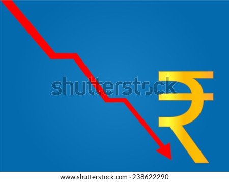 Currency Crisis Indian Rupee - stock vector