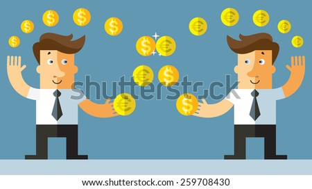 currency exchange. businessman exchanges the euro and the dollar. Flat vector illustration. - stock vector