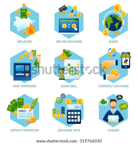 Currency exchange concept set with inflation cash dispenser deposit operation icons isolated vector illustration - stock vector