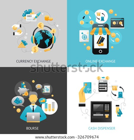 Currency exchange design concept set with online payment flat icons isolated vector illustration - stock vector