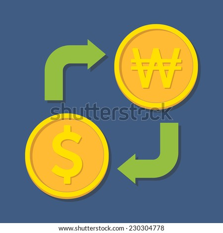 Currency exchange. Dollar and Won. Vector illustration - stock vector