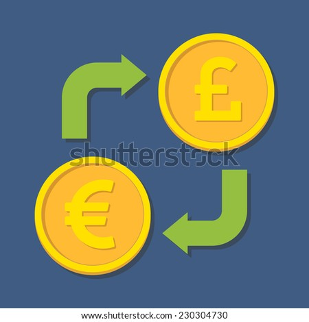 Currency exchange. Euro and Pound Sterling. Vector illustration - stock vector