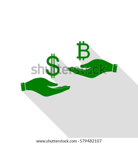 Currency exchange from hand to hand. Dollar and Bitcoin. Green icon with flat style shadow path.