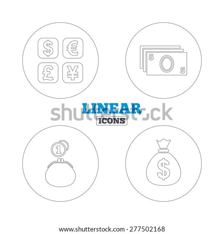 Currency exchange icon. Cash money bag and wallet with coins signs. Dollar, euro, pound, yen symbols. Linear outline web icons. Vector - stock vector
