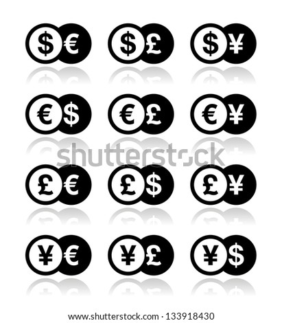 Currency exchange icons set - dollar, euro, yen, pound - stock vector