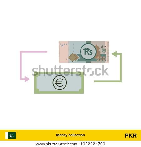 Currency Exchange Money Exchange Pakistan Rupee Stock Vector