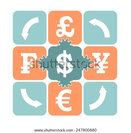 currency exchange puzzle - stock vector