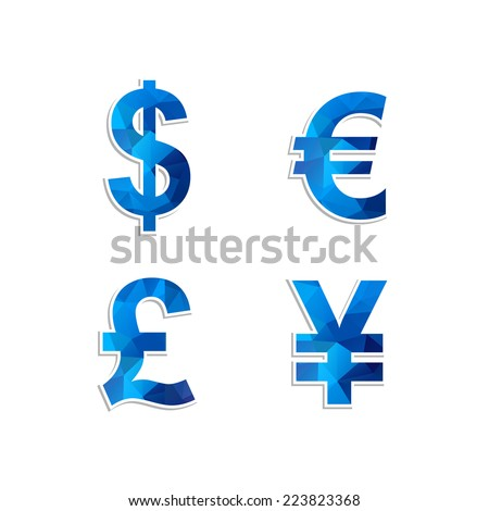 Currency exchange sign icon in modern style with a pattern of triangles. Vector illustration. - stock vector