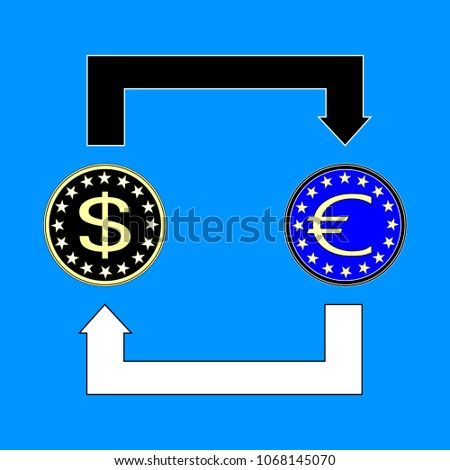 Currency Exchange Symbols Dollar Euro Signs Stock Vector 1068145070