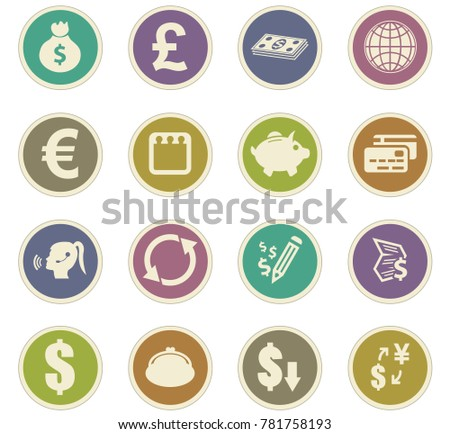 Currency exchange vector icons for user interface design