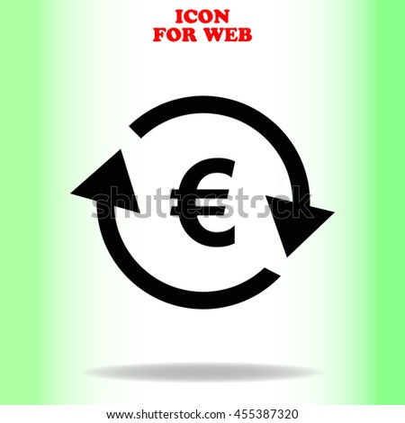 Currency exchange web icon. Black illustration on white background - stock vector