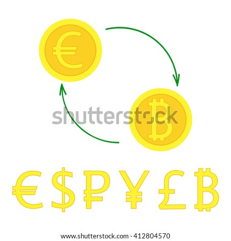 Currency exchange with arrows. Vector illustration of gold coin signs swap for banking, e-commerce, international trade, forex. Popular money flat style - euro, pound, dollar, bitcoin, pound, ruble. - stock vector